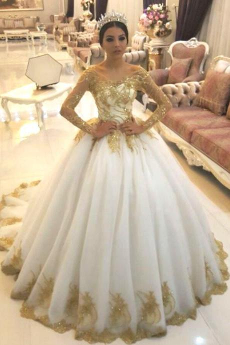 e012b46c5df Gold Lace Appliques White Tulle Long Sleeves Bridal Ball Gown Wedding  Dresses