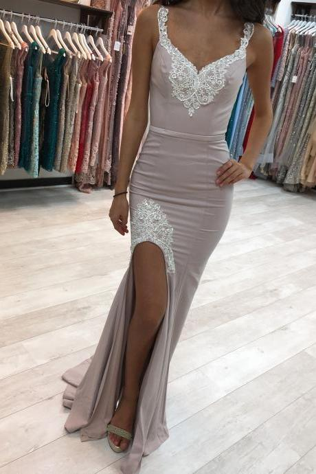 Long Evening Dress, Bridesmaid Dress featuring Lace Appliques and High Side Slit