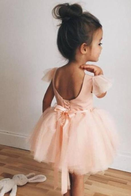 Cute Backless Short Ball Gown Kids Pageant Gowns Flower Girl Dresses