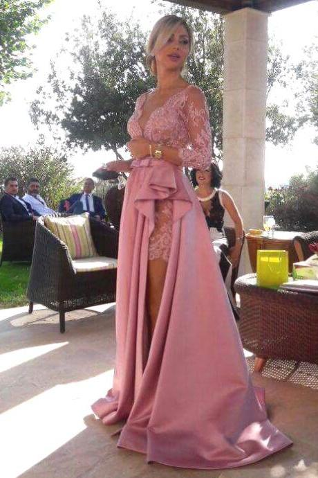 Deep V Neck Long Lace Sleeves Satin Prom Dresses with Ruched Slit
