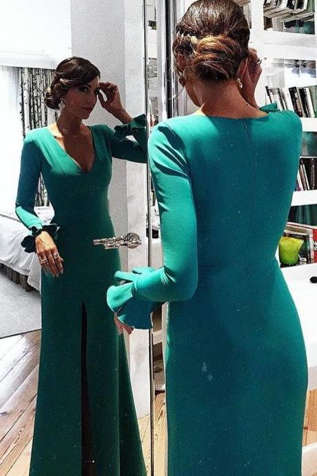 Emerald Green Long Sleeves Mermaid Evening Dress with Slit