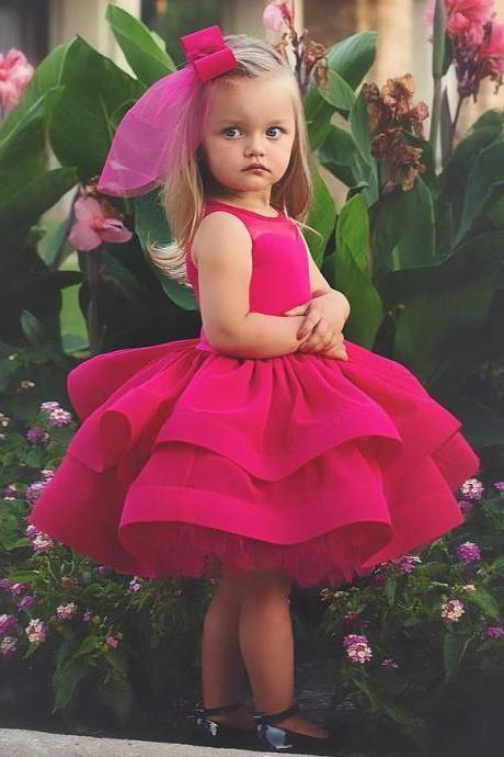 Tired Skirt Short Ball Gown Flower Girl Dresses