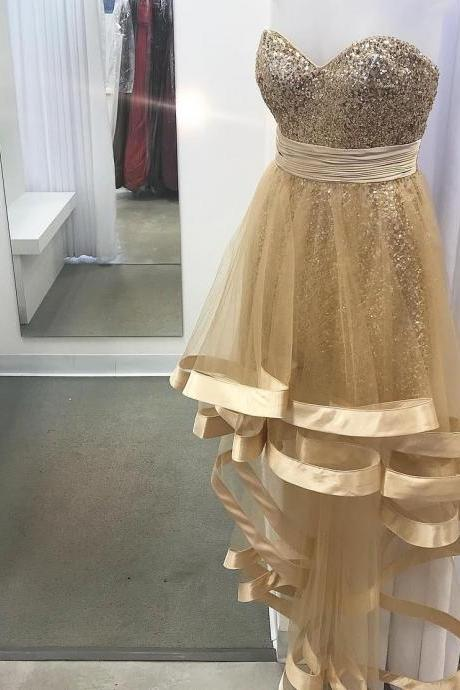 Gold Sequins High Low Sweetheart Prom Dresses Long