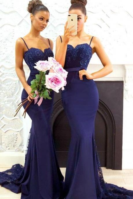 Long Sweetheart Mermaid Bridesmaid Dresses with Spaghetti Straps