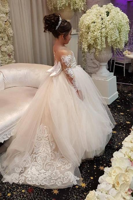 Cute Long Sleeves Ball Gown Flower Girl Dresses with Bow