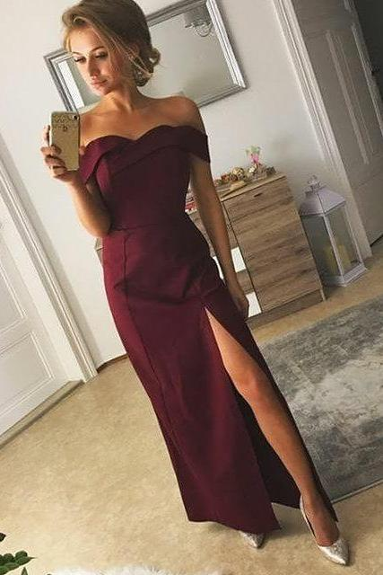 Off the Shoulder Maxi Satin Prom Dresses with Slit