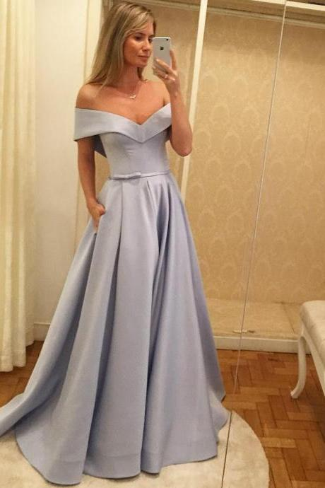 Off the Shoulder Satin Prom Dresses Long with Pockets