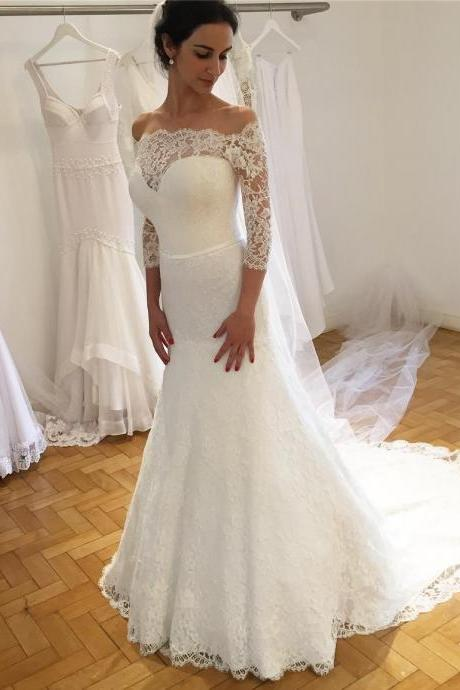 Off Shoulder Mermaid Lace Wedding Dresses with 3/4 Sleeves