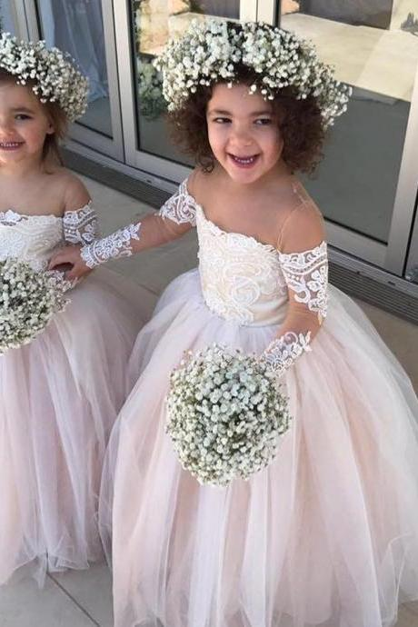 Princess Ball Gown Tulle Flower Girl Dresses with Long Sleeves