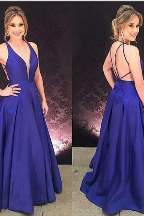 Deep V Neck Backless Satin Evening Dresses Long