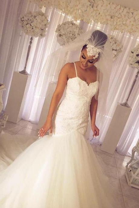 Lace Corset Tulle Mermaid Bridal Wedding Dresses with Spaghetti Straps