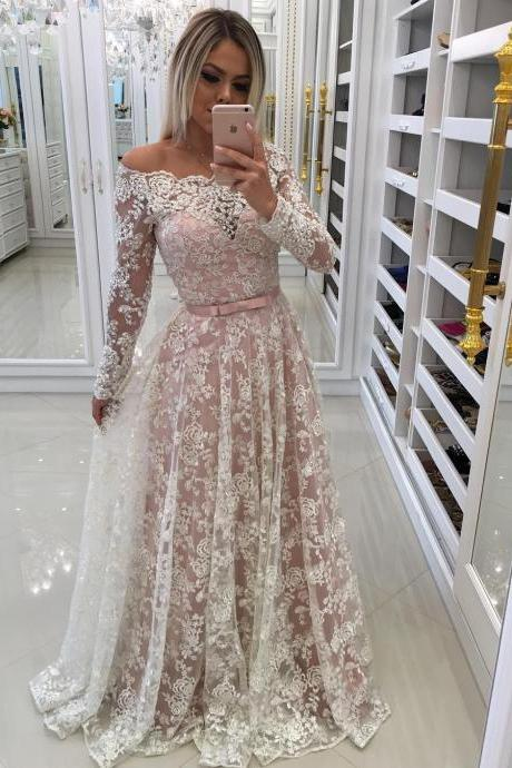 Sheer Lace Off Shoulder Evening Dresses with Long Sleeves