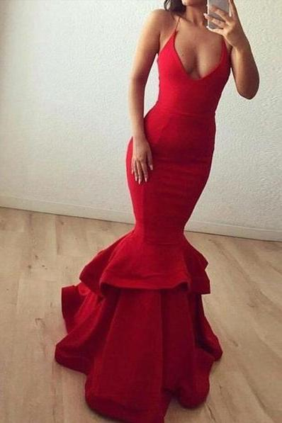 Sexy Halter Red Satin Mermaid Prom Dresses Long