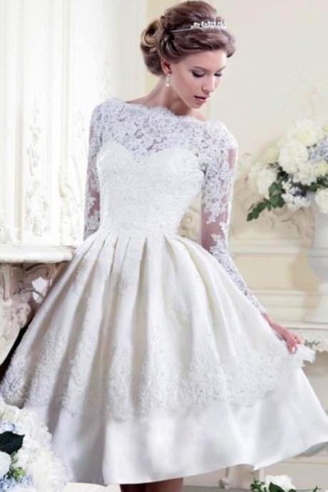 Short Satin Ball Gown Wedding Dresses with Full Lace Sleeves
