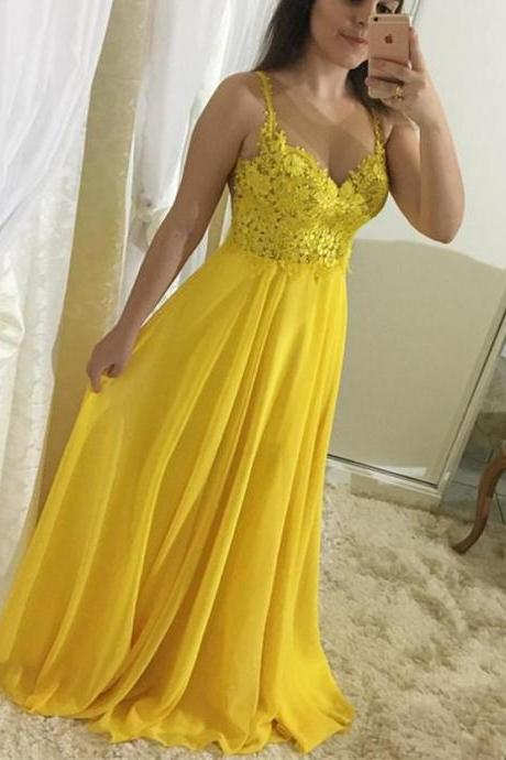 Nude Back Yellow Chiffon Prom Dresses Long with Lace Appliques