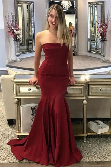Long Satin Strapless Mermaid Evening Dresses