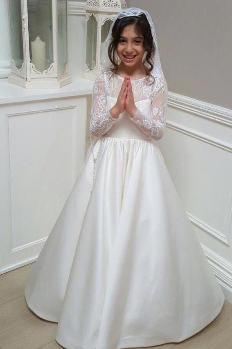 Long Backless Satin Flower Girl Dress with Lace Sleeves 2018