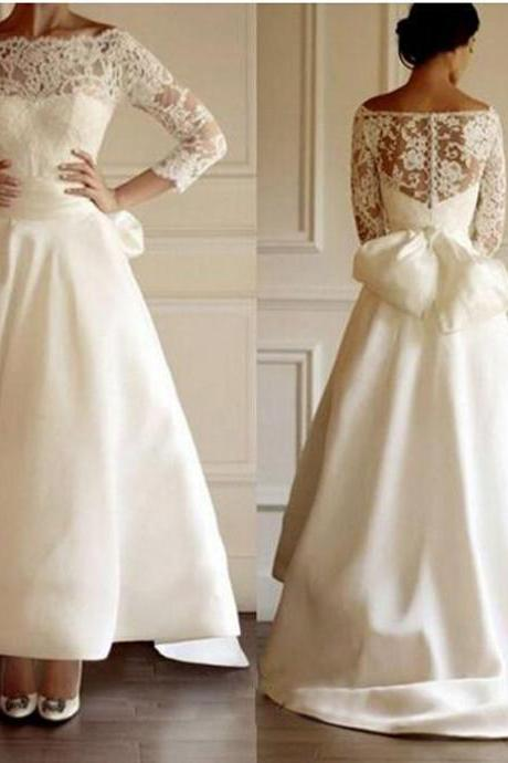 Long High Low Satin Wedding Dress with 3/4 Lace Sleeves and Bow