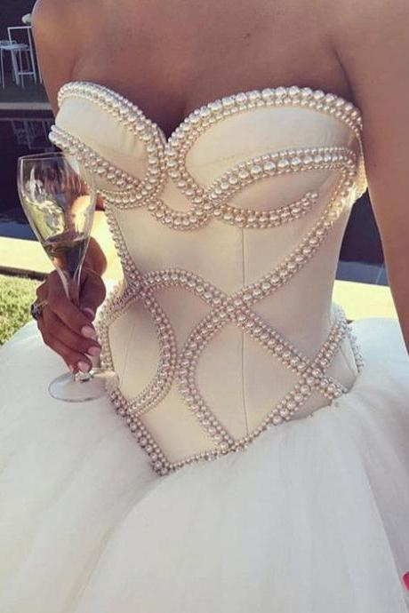 Pearl Beaded Corset Sweetheart Wedding Dresses Ball Gowns