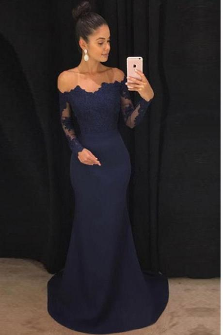 Lace Long Sleeves Off Shoulder Mermaid Bridesmaid Dresses
