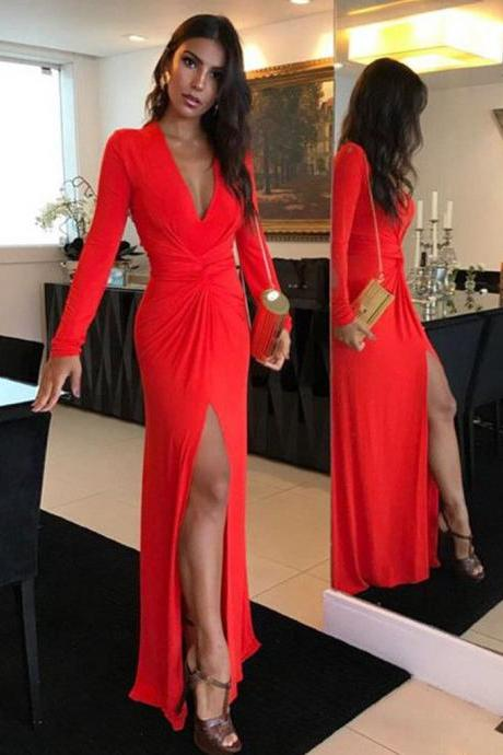 Long Sleeves Spandex Sheath Formal Dresses with Sexy Leg Split