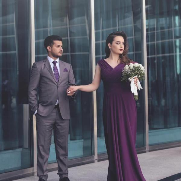 Purple Spandex Long Evening Dress Ruched Elegant Formal Dresses for Women V neck Greece Style Evening Party Gowns Top Quality with Cheap Price