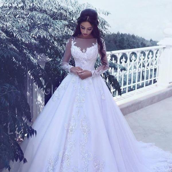 Said Mhamad Long Sleeves Wedding Dress Ball Gown Bridal Dresses with Lace Appliques Vintage Wedding Gowns New Design Top Quality