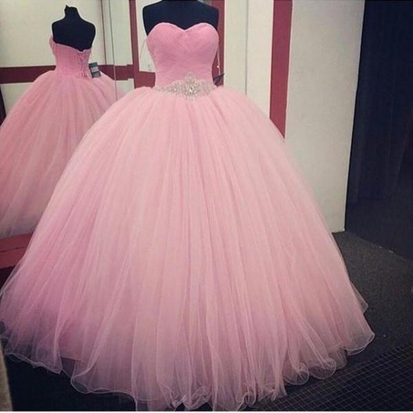 Pretty Pink Ball Gown Prom Dresses Beading Belt Lace Up Back Off the Shoulder Sweetheart Long Prom Dress High Quality Tulle Vestido de Festa