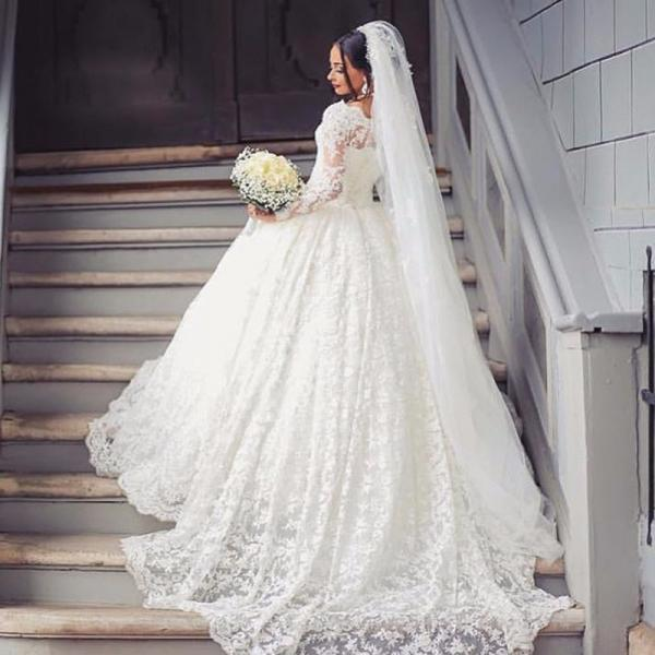 vestido de noiva Lace Wedding Dresses with Long Sleeves robe de mariage Cheap High Quality Vintage Wedding Gowns China