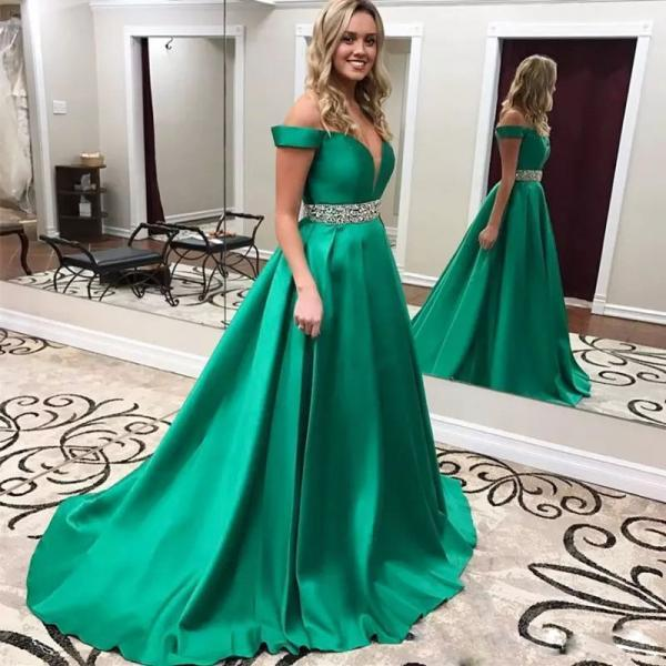 2017 New Arrival Off-Shoulder Evening Dresses Handmade Deep V Neck Formal Gown Green Satin Long Prom Dresses Evening Gowns Wear