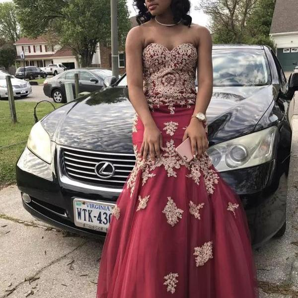 African Burgundy Prom Dresses Tulle Mermaid Sweetheart Long Party Dress Beading Gold Appliques Black Girls Evening Gowns Wear 2017
