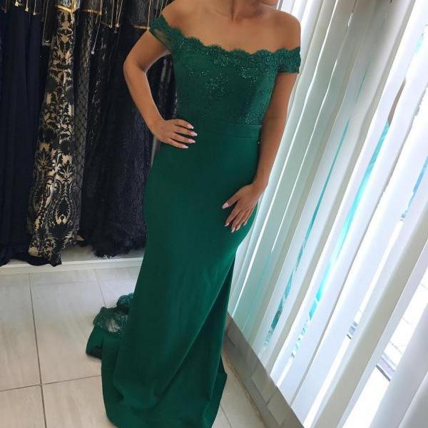 Dark Green Mermaid Long Bridesmaids Dresses 2018 Lace Appliques Wedding Party Gown Short Sleeve Prom Dresses Maid of Honor Gowns