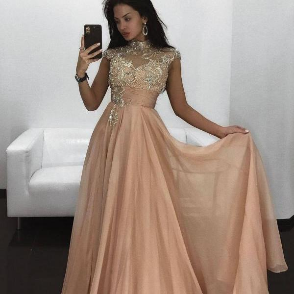 Long Prom Evening Dress abendkleider Beading Cap Sleeves High Neck Woman Party Gowns A line Chiffon Prom Dresses with Rhinestone robe de soiree