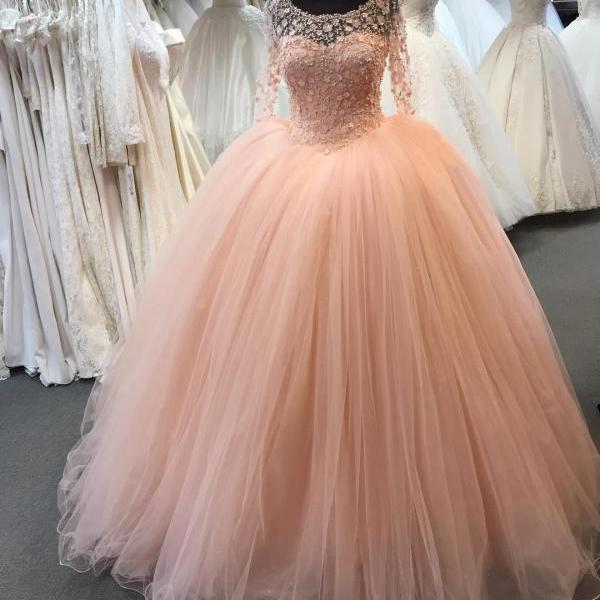 Coral Prom Dresses with Long Sleeves Flowers Tulle Ball Gown Off the Shoulder Princess Arabic Women Formal Evening Party Gowns Couture