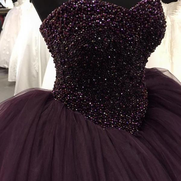 Puffy Prom Dresses Floor Length Evening Dress Beaded Top Dark Purple Tulle Sweetheart Long Party Ball Gowns Prom Dress High Quality