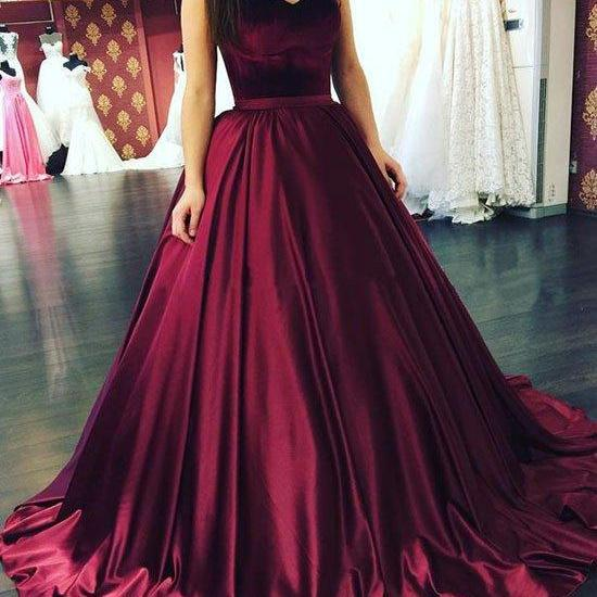 Concise Puffy Satin Sweetheart Long Prom Dress