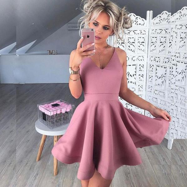 V-Neck Short A-Line Homecoming Party Dress