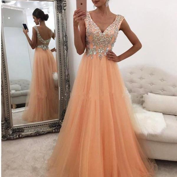 Beaded Tulle Long Prom Dress with Low Back