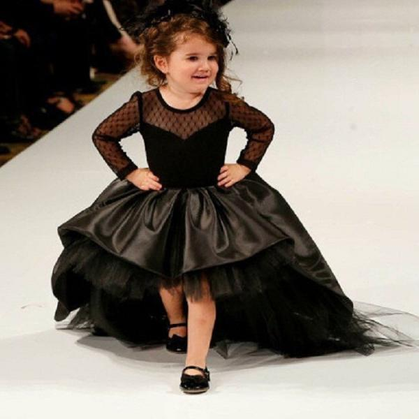 Black High Low Flower Girl Dress with Long Sleeves