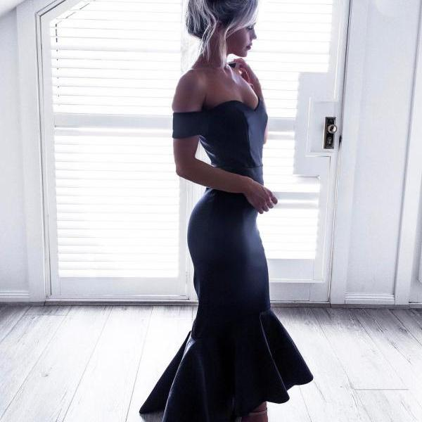 Off-the-Shoulder Mermaid High-Low Prom Dress in Dark Navy Satin, Backless Party Gown for Weddings