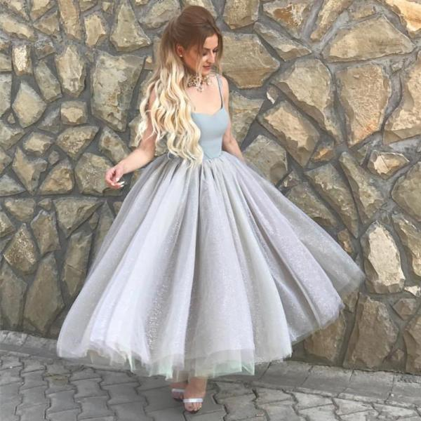 Ankle Length Glitter Tulle Ball Gown Homecoming Party Dresses