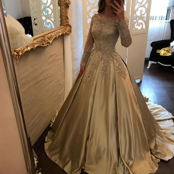 Boat Neck Lace Corset Satin Ball Gown Wedding Dress Bridal