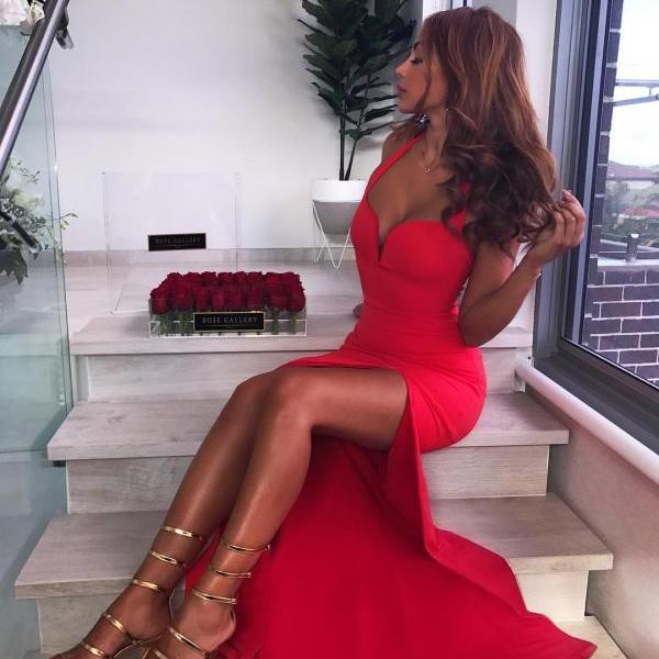 Sexy Halter Mermaid Evening Dress High Split Long Prom Gown in Red Satin