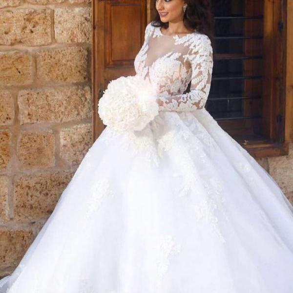 Vintage Lace Tulle Bridal Ball Gown Wedding Dresses with Long Sleeves