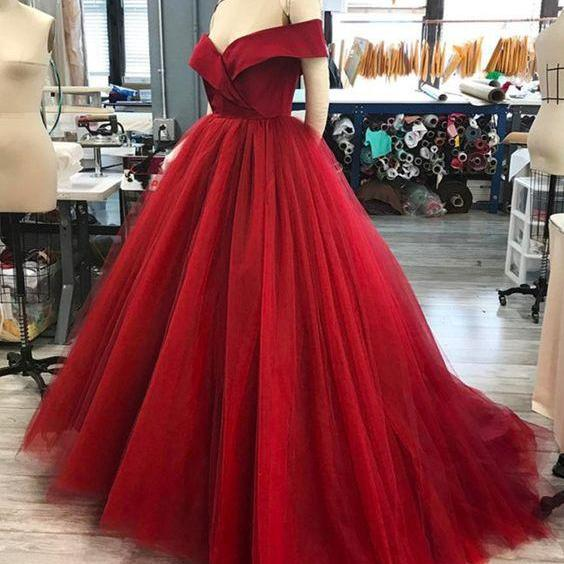 Off The Shoulder V-Neck Tulle Ball Gown Prom Dresses Long