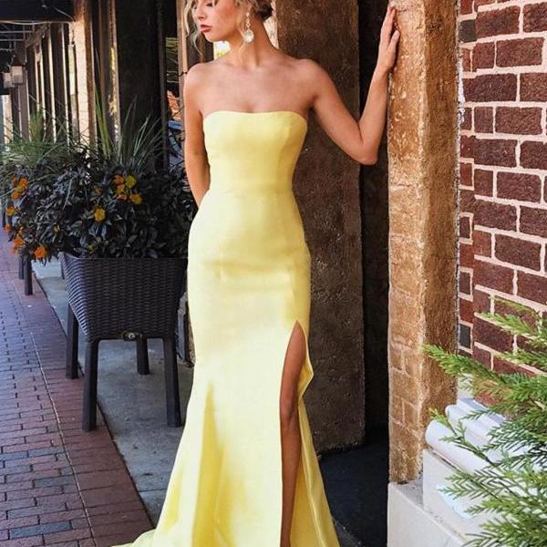 Simple Strapless Mermaid Long Evening Dresses with Sexy Slit