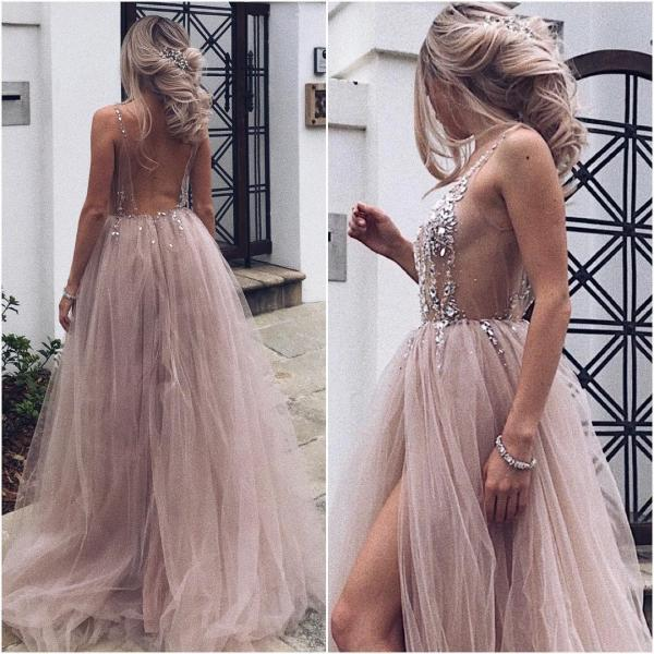 Sexy Backless Tulle Prom Dresses Long with Crystal Beaded Sheer Corset