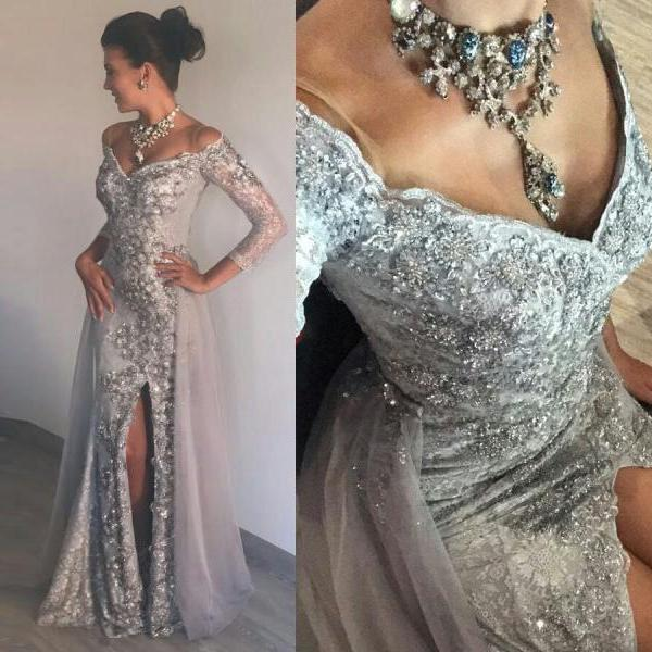 Stunning Silver Slit Mermaid Long Evening Dresses with 3/4 Sleeves