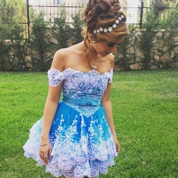 Off Shoulder Short Ball Gown Prom Dresses with Tired Lace Skirt