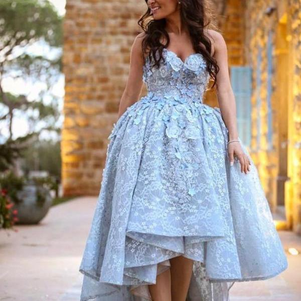 Amazing Gray Lace Sweetheart High Low Prom Dresses Long